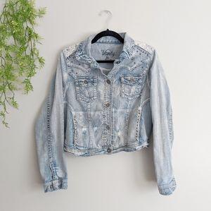 (Vanity) Distressed Destroyed Denim Jacket Lace XL